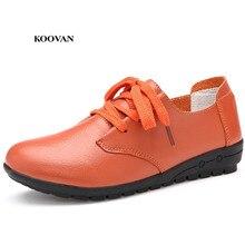 07b34d58a Koovan Mulheres Flats 2018 Nova Primavera Sapatos de Couro Genuíno Sapatos  Mãe das Mulheres de Meia