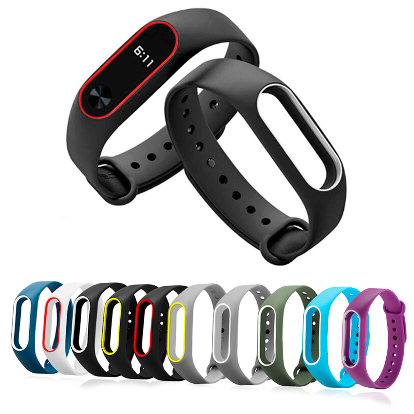 Colorful Silicone Wrist Strap Bracelet Double Color Replacement Watchband For Original Miband 2 Xiaomi Mi band Smart Wristband все цены