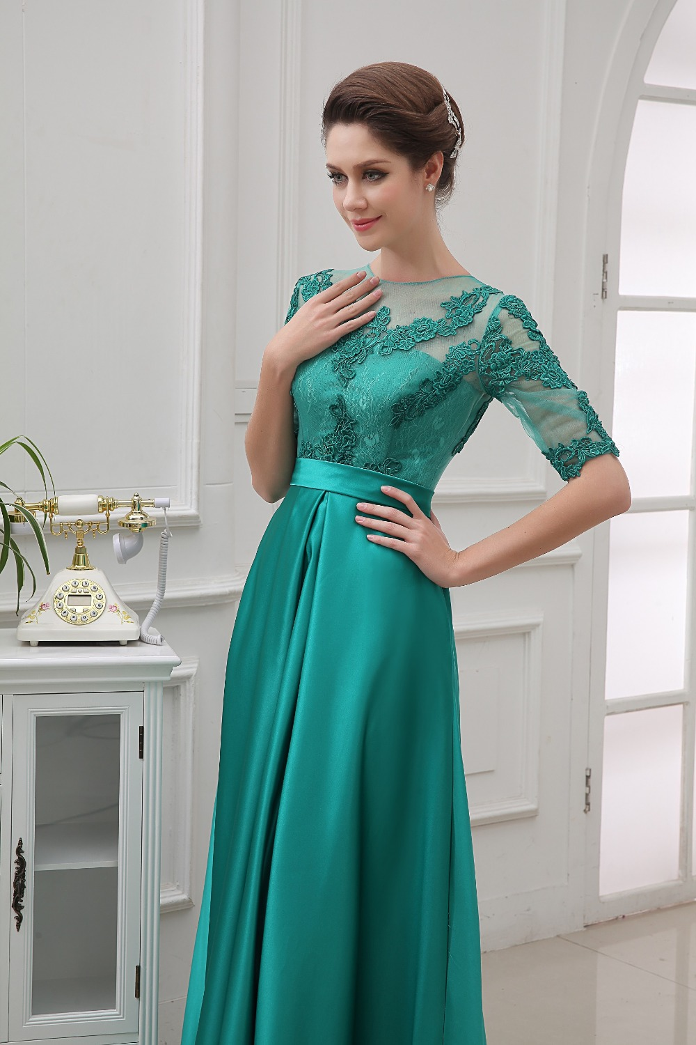 New Arrival Half Sleeve Lace Satin Emerald Green Long Dress Party ...
