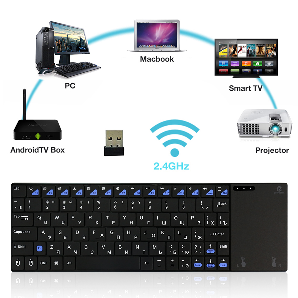 Original Zoweetek i12plus ultra slim 2.4Ghz RF Mini wireless Russian Keyboard with touchpad mouse for PC HTPC Android TV Box 2 4g mini wireless keyboard mouse with touchpad for pc android tv htpc