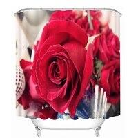 3D Sexy Rote Rose Duschvorhänge Blumenmuster Bad Vorhang Wasserdicht Verdickt Bad Vorhang Anpassbare|Duschvorhänge|Heim und Garten -