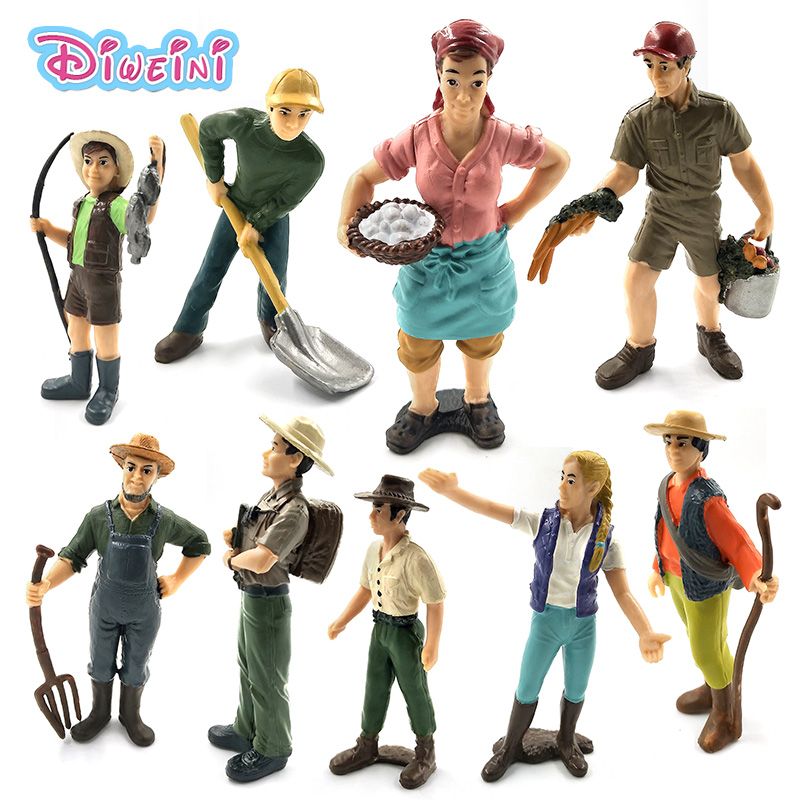 Farm Staff Simulation Farmer People Model Instructor Feeder Shepherd Women  Inspector Wrangler Child PVC Doll Figure Kids Toys
