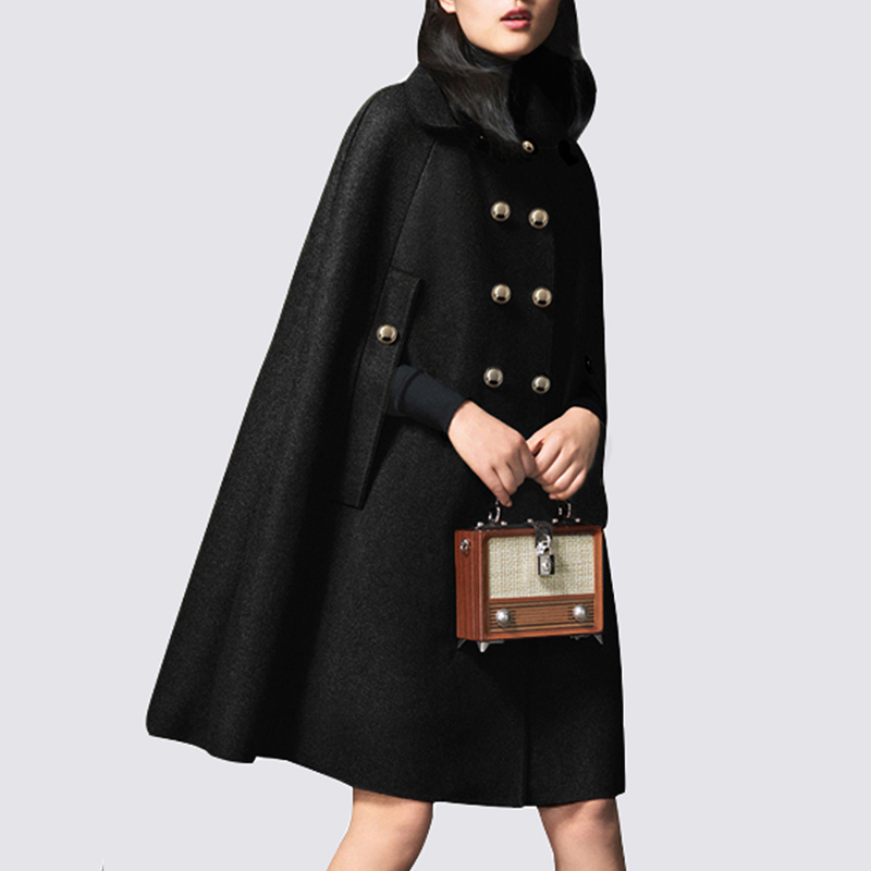 Black Veste Épais Poncho Coréen caramel Supérieure Manteau Laine À Qualité Outwear Femmes Lxunyi Long Double Automne Style Capes Boutonnage Cape p7OUZYpn