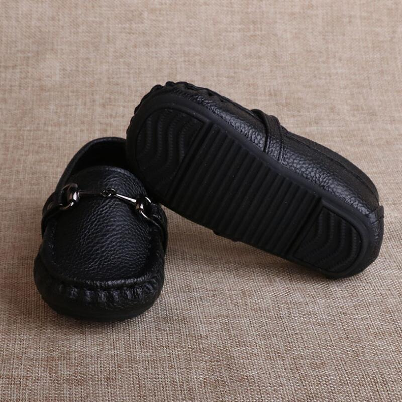 Image 2 - SKHEK Autumn Boys Microfiber Leather Casual Loafers Baby/Toddler/Little Kid Black White Flats Children School Uniform Dress Shoe-in Leather Shoes from Mother & Kids