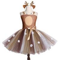 Brown Deer Girls Tutu Dress Halloween Christmas Deer Costume Kids Tutu Dresses for Girls Birthday Party Dress Children Clothing