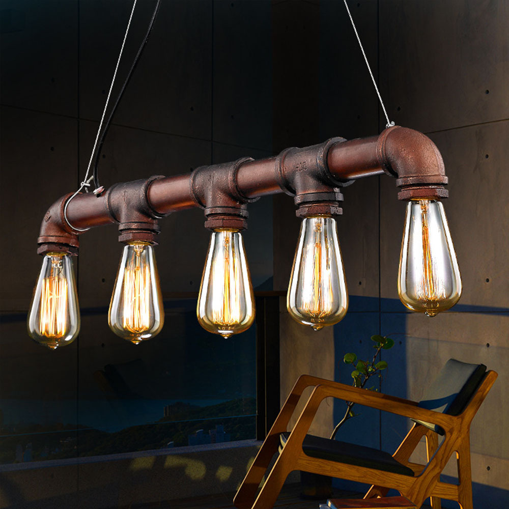 Retro Industrial Edison Bulbs 5 Heads Pendant Light Iron Water Pipe Copper Color Dining Room Bedside Cafe Shore Decor Drop Lamp In Lights From
