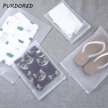 PURDORED 1 pc Transparent Cosmetic Bag PVC Clear Makeup Bag Women Zipper Travel Make Up Bag Clothes Organizer Storage Bag