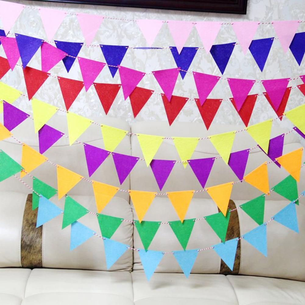 Triangle Decoration Garland Small Bunting Color Non Woven Fabric Bunting Paper String Party Wedding Classroom Stage Decoration in Banners Streamers Confetti from Home Garden