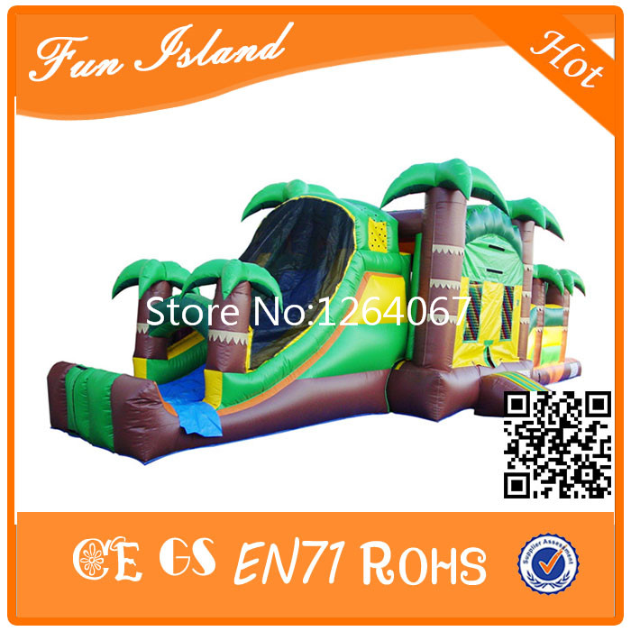 16x3x3 5M PVC Cheap Jungle Theme Inflatable Obstacle Outdoor font b Bouncer b font Games For