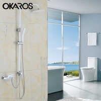 OKAROS White Bathroom Shower Faucet  Rainfall Shower Head Hand Shower Sprayer Bathroom Shower Set Water Tap Mixer Torneira