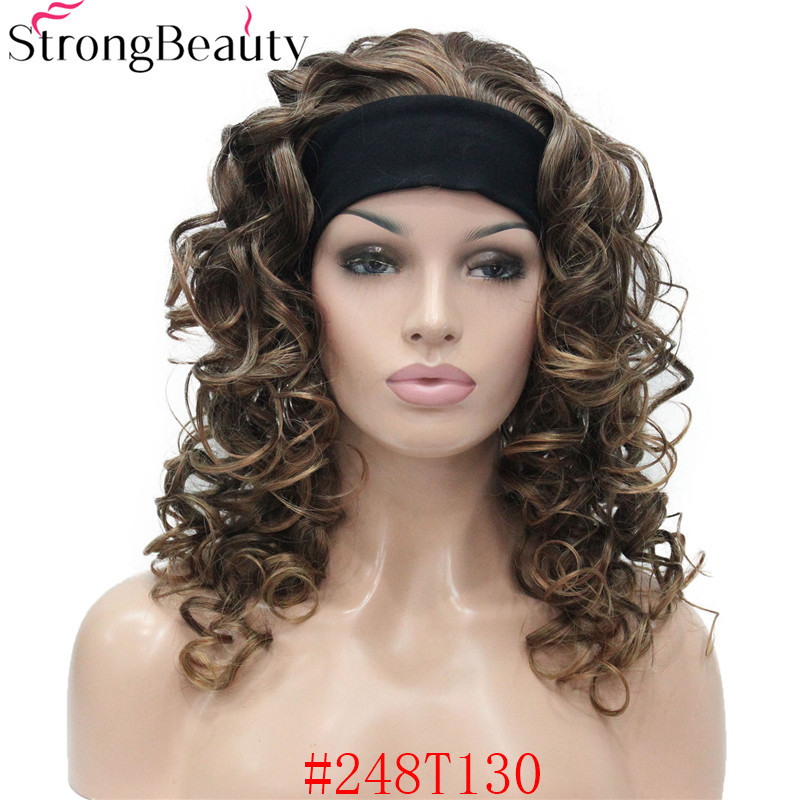 5985 #248T130 new 34 wig with headband Black Brown Copper mix curly women`s 20 synthetic wig (2)