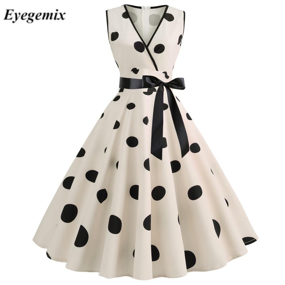 Woman Retro Dresses Audrey Hepburn 1950s 60s Rockabilly Polka Dot Bow Pinup Ball Grown Party Robe Plus Size Vestidos
