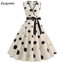 Woman Retro Dresses Audrey Hepburn 1950s 60s Rockabilly Polka Dot Bow Pinup Ball Grown Party Robe Plus Size Vestidos(China)