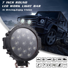 7inch 51W Red Led Work Lights Pods Bull Bar Driving Offroad Truck SUV ATV Round Spot Beam Pure White 6000K