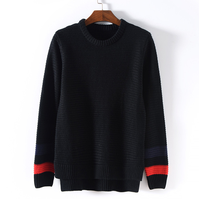 Korean Style Long Sleeve Men Sweater Black white Brand Clothing Design Irregular Length Man Pullover O-Neck fashion Knitwear XXL