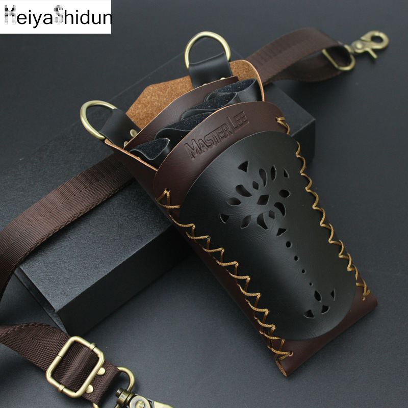PU Leather Hair Scissor Bag Clips Comb Case Hairdressing Barber Hair Scissor Holster Pouch Holder Tool Salon Waist Pack Belt Bag