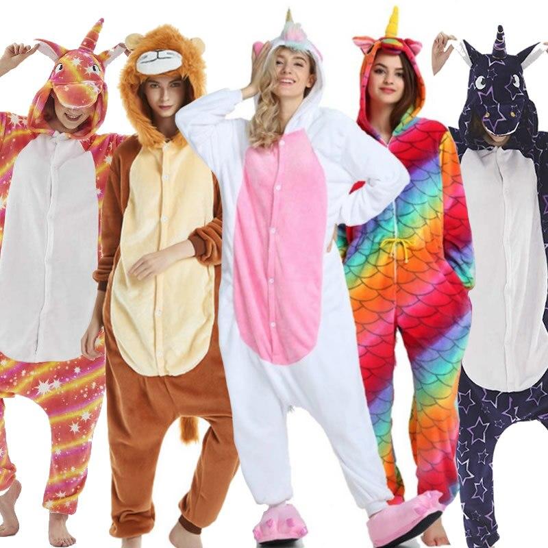 Adults Animal Kigurumi Pajamas Sets Sleepwear Cosplay Zipper Women Men Flannel Unisex Unicornio Stitch Cartoon Unicorn Pajamas