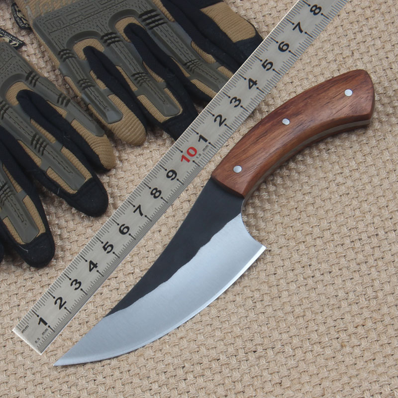 Super sharp High carbon steel Hand made fixed hunting font b knife b font 58HRC wood