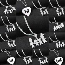 Ожерелье с надписью «Love Mom», «Dad», «Son» и «s», подарки, подвески из нержавеющей стали для мальчиков и девочек, ожерелье для мамы, папы, для детей, для семьи