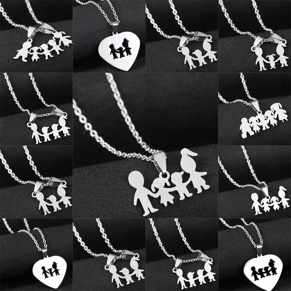 Love Mom Dad Son Daughter Necklaces Gifts Stainless Steel Pendants Boys Girls Mothers Fathers Necklace For Children Kids Family