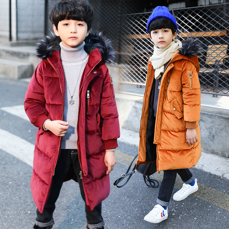 Baby Big Boys 2017 Winter Coats with Fur Hood Kids Outerwear Jackets Thick Warm coats Children Winter Coats Clothes Long Parka buenos ninos thick winter children jackets girls boys coats hooded raccoon fur collar kids outerwear duck down padded snowsuit