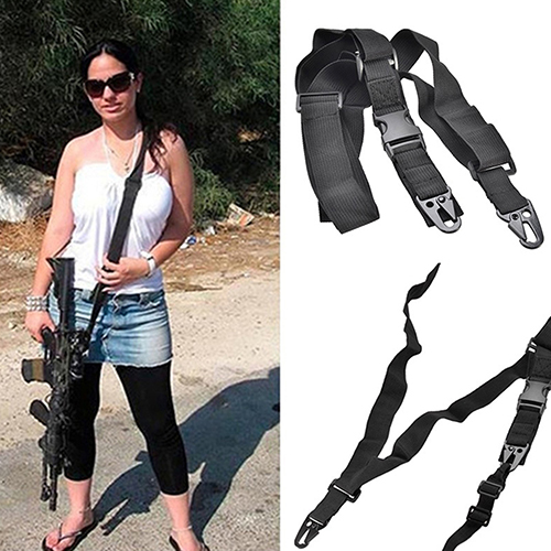 Tactical Nylon 3 Point Rifle Sling Alloy Clasp Hunting Adjustable Belt Strap
