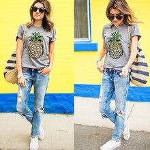 купить Sexy O-Neck Pineapple Print Women T-Shirt Short Harajuku Female T-Shirt 2019 Summer Fashion Tops Casual Beach Party Clothing дешево