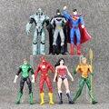 7Pcs/Set 17cm Justice League Superman Wonder Flash Batman Lantern Aquaman Movable Action Figure Toys PVC Dolls Great Xmas Gift