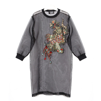WKOUD EAM Clothes / 2018 Summer New Long Sleeve Crystal Embroidery Perspective Women's Mesh Black Micro Perspective Dress T055