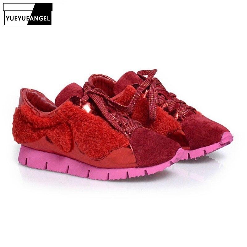 Nouvelle mode laine fourrure en cuir véritable décontracté chaussures plates femmes 2019 Designer chaussures à lacets de luxe plate-forme dames Sportschoenen