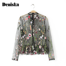 DENISKA 2017 Fashion Summer Embroidery Shirt Women Colorful Floral Blouse Elegant Sexy Perspective mesh Tops Black