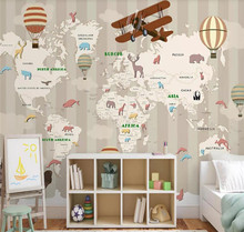 цена на Custom 3d wallpaper hand-painted cartoon children's room map background wall decoration mural silk waterproof material
