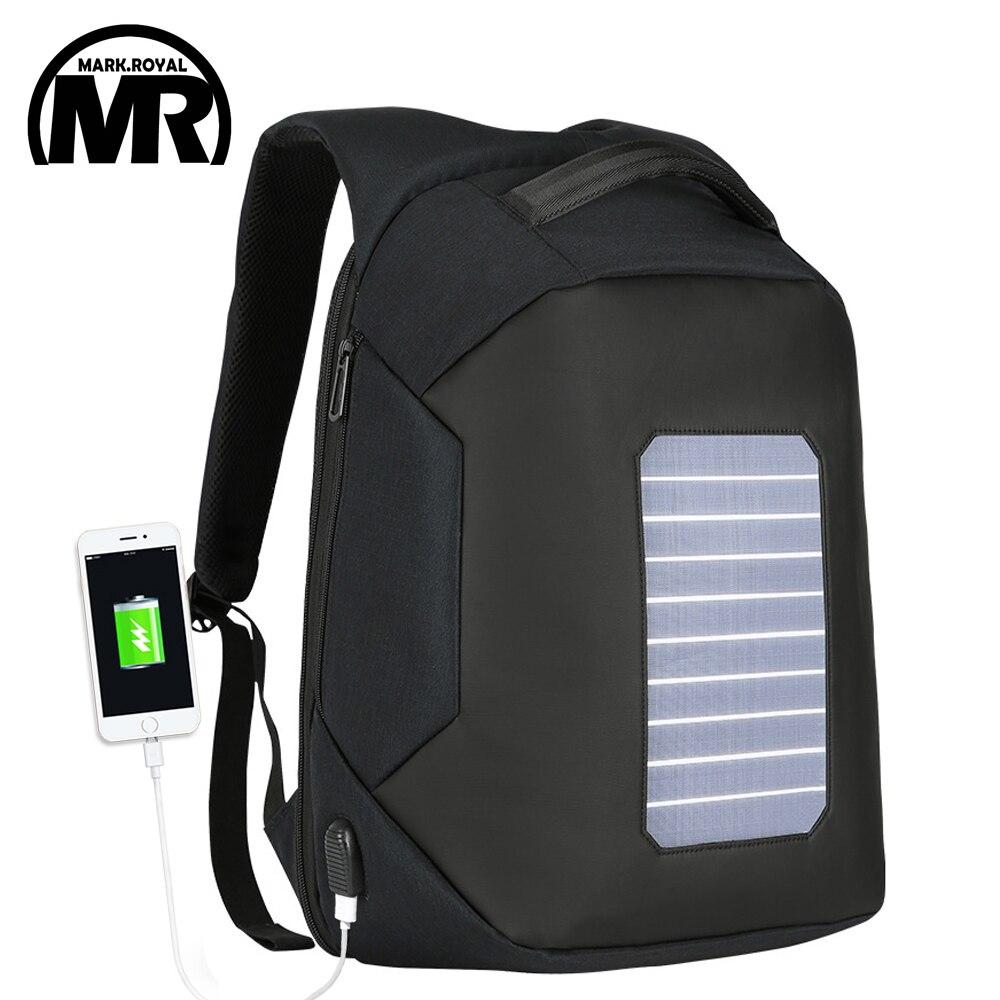 MARKROYAL Solar Power Anti-theft Men Backpack For 15.6 Inch Laptop External USB Charger Travel Rucksack Water Repellent Mochila