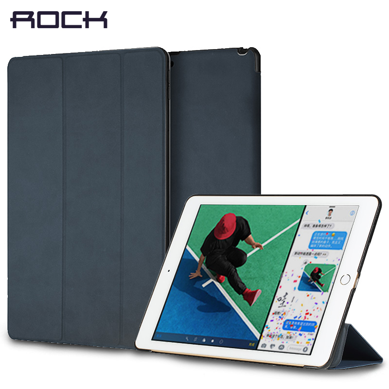 Leather Cover Stand For iPad 9.7 pro 10.5 12.9 inch 2017, ROCK Auto Sleep Wake-up Magnet Holder Protector Shell For iPad 2017 ...