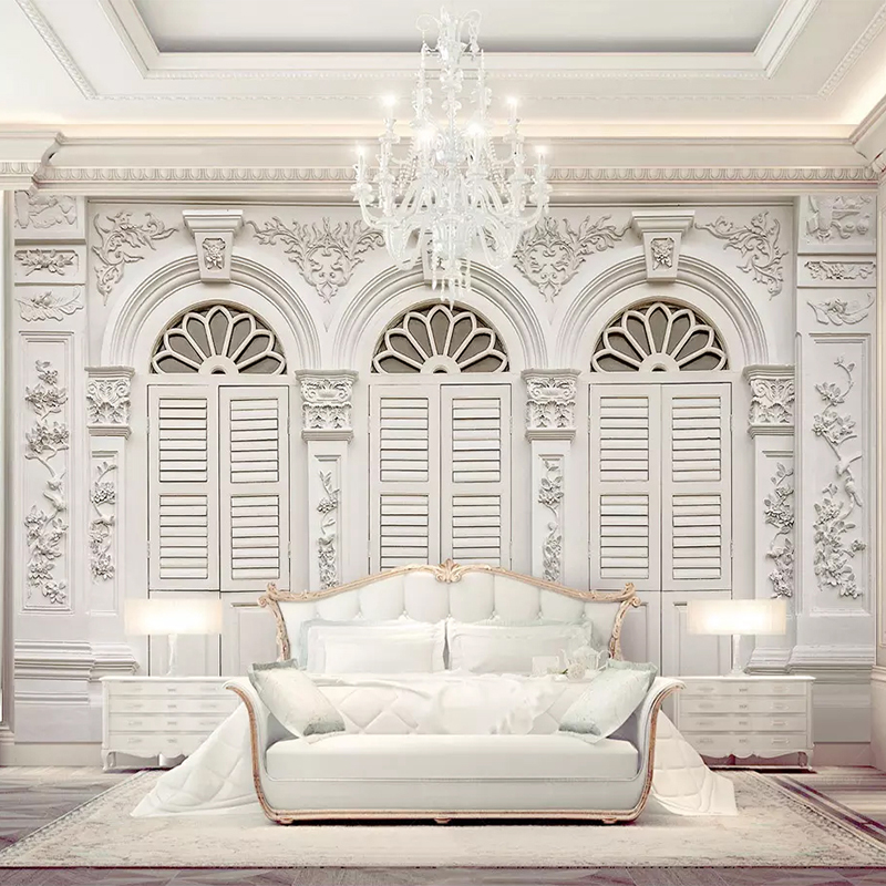 Custom Mural Wallpaper 3D Simple White European Style Relief Photo Wall Paper Living Room Bedroom Luxury Decor Papel De Parede