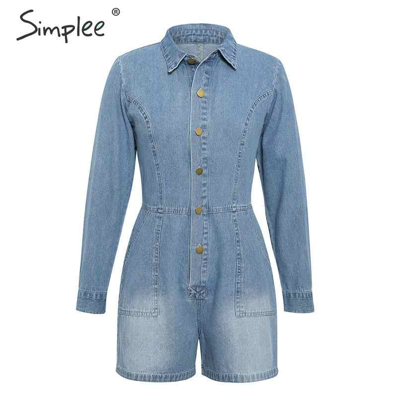 Simplee джинсовые комбинезоны ползунки   рукавом  Повседневные женские комбинезоны с длинным рукавом джинсовые комбинезоны ползунки