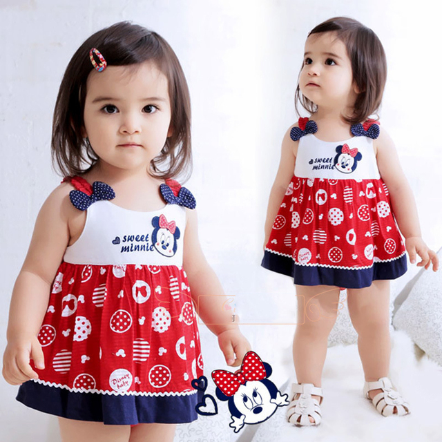 ca1278fd62 Little Girls kids children Dress Princess Dresses Clothing Summer Spring beach  Baby Dress mickey minnie pattern gift packing
