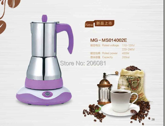 6cups Electric stainless steel moka coffee pot with vision window &elegant design,perfect gift Direct manuafacturer