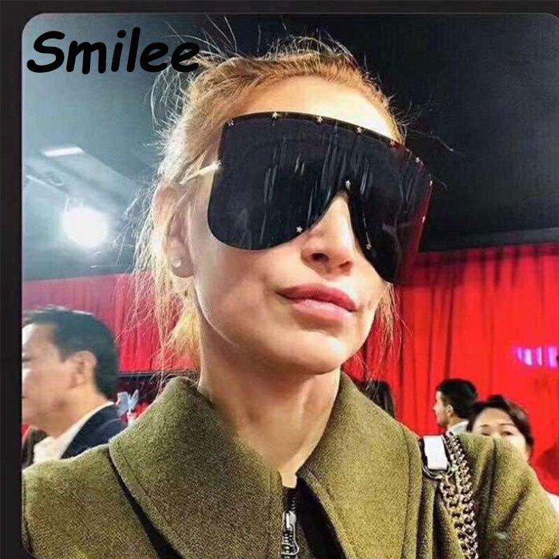 240f9d9c38 Huge Black Shield Sunglasses Trend 2019 Women Star decoration Large Frame  Sun Glasses Brand Designer Mask