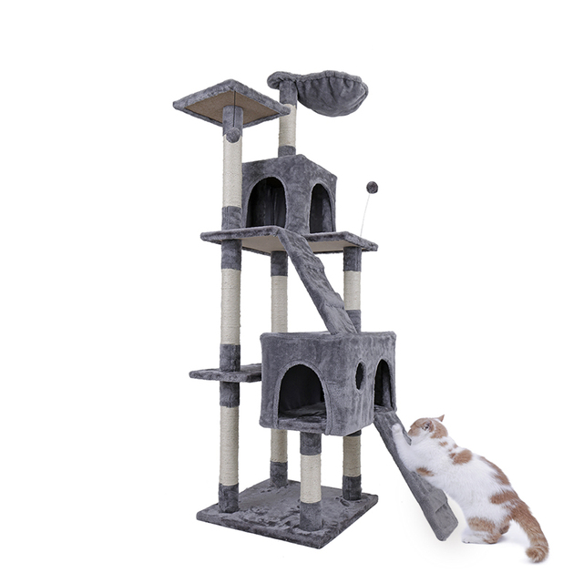 Domestic Delivery Cat Tree Furniture With Ladder Scratching Post Cat Jumping Tower Toy For Kittens Pet House Condo Big-size