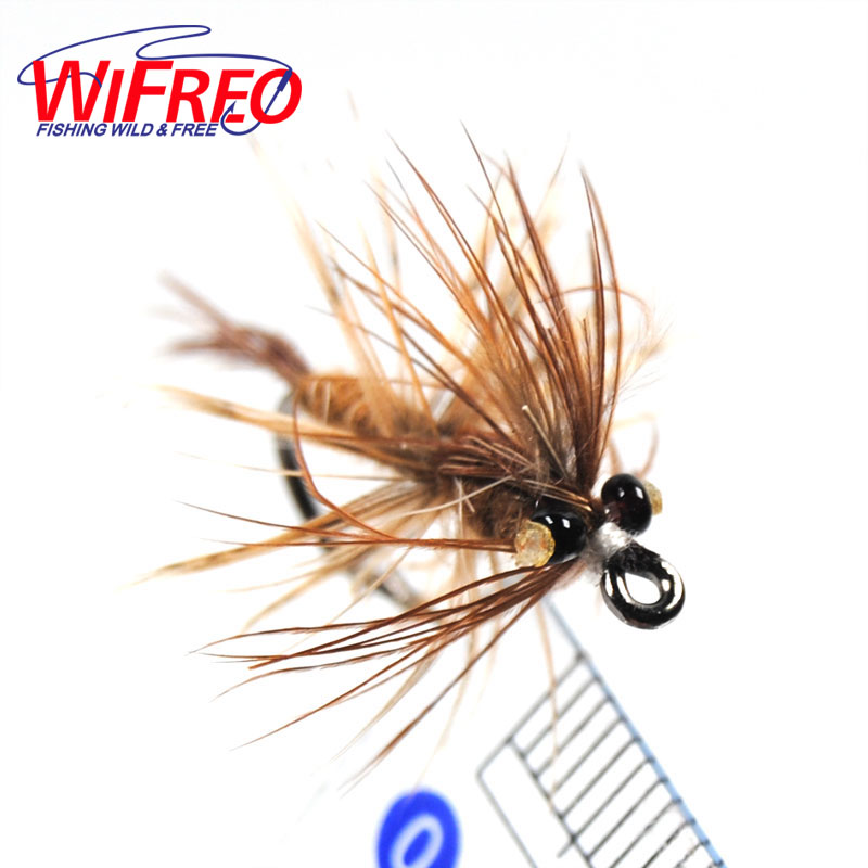 10PCS 6# Wifreo Brown Hackle Black Eye Beads Shrimp Fly Trout Fly Fishing Lures креветки black shell shrimp 10 30