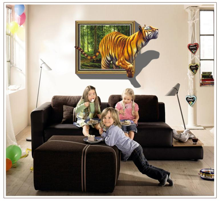 New New Big D Effect Vintage Tiger Wall Sticker Animal Wall - 3d effect wall decals