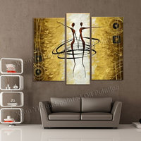 Handpainted 3 Panel Wall Art Decorations For Home Modern Abstract Oil Paintings On Canvas Dance Girls