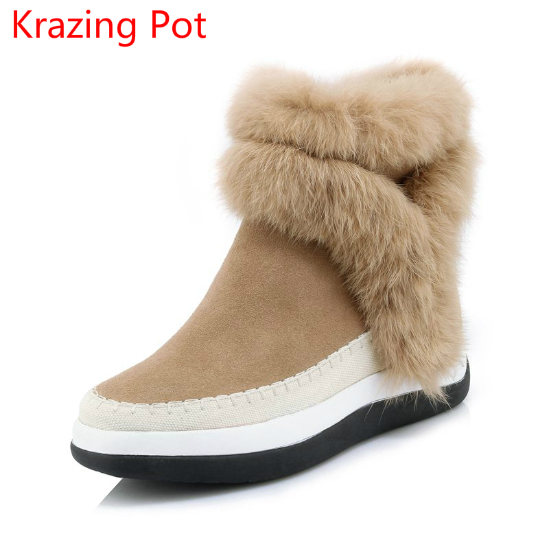2018 Superstar Cow Suede Rabbit Fur Round Toe Keep Warm Leisure Winter Boots Gladitor Runway Increased Women Mid-calf Boots L16 2018 genuine leather zipper winter boots round toe platform motorcycle boots elegant increased mid calf boots for women l6f2