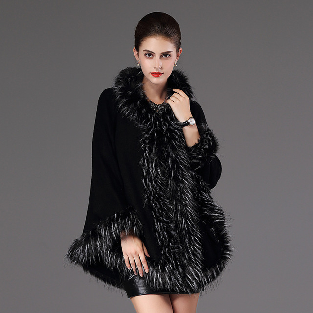 2018 Autumn Winter Women's knit Cape Shawl Coat Hooded Top Faux raccoon fur edge Cardigan Cloak Loose Female Sweaters OKXGNZ2057 6