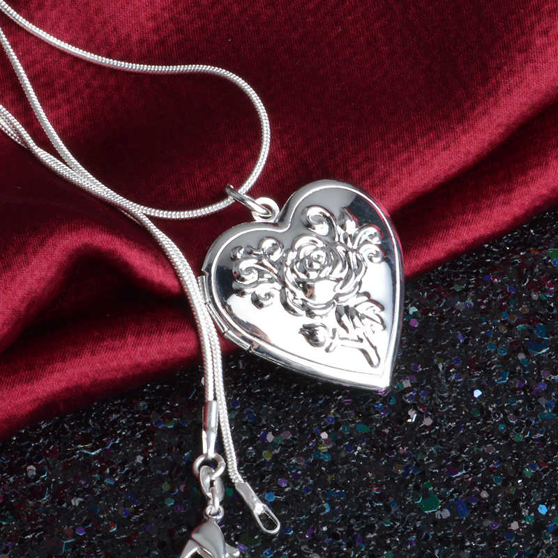 Classic Vintage Rose Flower 925 Sterling Silver Locket Double Heart  Necklace Photo El Collar Pendant Women' Best Gift