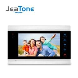 JeaTone 7 pulgadas Monitor de interior Video puerta teléfono timbre intercomunicador sistema de grabación de vídeo foto tomar montaje de pared plateado