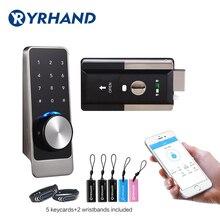 Wasserdicht Smart tür rim schlösser, Bluetooth App RFID Tastatur Elektronische Türschloss, wiFi Sicherheit sicher Digitale sperre für Hause