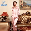2017 Nuevas Damas Homewear Girls Slik ropa de Otoño de la Media manga de Seda de Primavera pijamas fijó para las mujeres con Ml XL tamaño y 8 colores