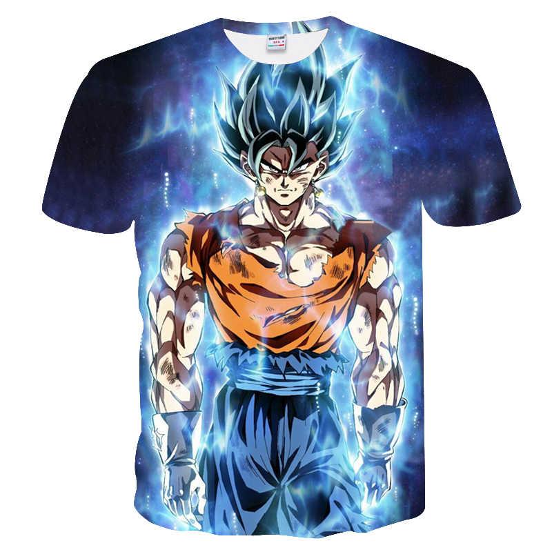 Футболки с 3D-принтом Moda Hombre Dragon Ball Z мужские футболки с короткими рукавами 2019 новые Saiyan Goku черные повседневные Топы Harajuku